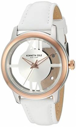 Kenneth Cole New York Damen-10024374 Transparenz Analog Display Japanisches Quarz-Weiß Armbanduhr von Kenneth Cole
