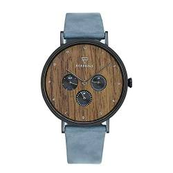 KERBHOLZ Holzuhr Uhr – Elements Collection Caspar analoger Herren Chronograph, Naturholz Ziffernblatt, echtes Lederarmband, Ø 42mm, Walnuss Dunkel-Blau von Kerbholz