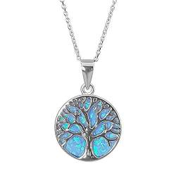 Kiara Jewellery 925 Sterling Silver Rhodium Plated Tree Of Life Pendant Necklace Set Upon A Disc Of Blue Opal On 46cm Italian Diamond Cut Rhodium Plated Trace Chain. von Kiara Jewellery