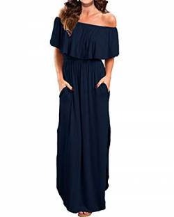 Kidsform Sommerkleider Damen Maxikleid Off Shoulder Bandeau Langes Kleid Boho Kleider Casual Strandkleider Cocktail Abendkleid Dunkelblau XL von Kidsform