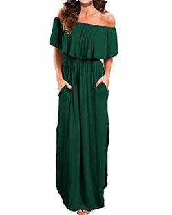 Kidsform Sommerkleider Damen Maxikleid Off Shoulder Bandeau Langes Kleid Boho Kleider Casual Strandkleider Cocktail Abendkleid M von Kidsform