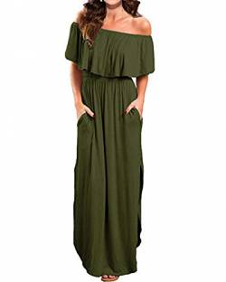 Kidsform Sommerkleider Damen Maxikleid Off Shoulder Bandeau Langes Kleid Boho Kleider Casual Strandkleider Cocktail Abendkleid S von Kidsform