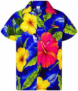 Funky Hawaiihemd, Kurzarm, Big Flower New, Dunkelblau, XXL von King Kameha