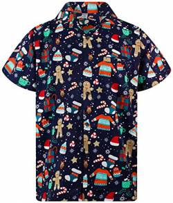 Funky Hawaiihemd Weihnachten, Christmas Gingerbread, blau, 4XL von King Kameha
