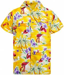 King Kameha Funky Hawaiihemd, Kurzarm, Flamingos, Gelb, 3XL von King Kameha