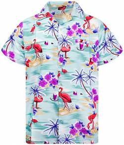 King Kameha Funky Hawaiihemd, Kurzarm, Flamingos, Grün, 4XL von King Kameha