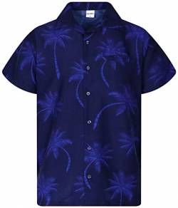 King Kameha Funky Hawaiihemd, Kurzarm, Palmshadow New, Navyblau, 5XL von King Kameha