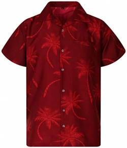 King Kameha Funky Hawaiihemd, Kurzarm, Palmshadow New, Rot, 3XL von King Kameha