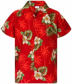King Kameha Funky Hawaiihemd, Kurzarm, Small Flower New, Rot, 4XL von King Kameha