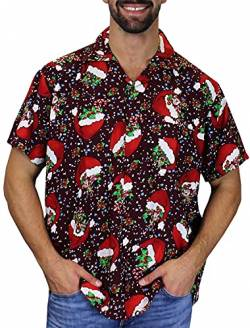 King Kameha Funky Hawaiihemd Weihnachten, Christmas FlyingHats, rot, 4XL von King Kameha