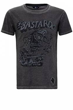 King Kerosin Herren Oil Washed Print T-Shirt Used Look EL Bastardo Rundhals Kurzarm Slim Fit EL Bastardo von King Kerosin