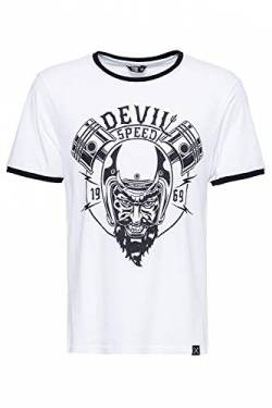 King Kerosin Herren T-Shirt Vinatge Ringer Optik Speed Devil Rundhals Kurzarm Regular Fit Speed Devil von King Kerosin