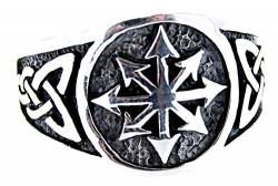 Chaosstern Ring aus 925 Sterling Silber, Gr. 52-76 (74 (23.6)) von Kiss of Leather