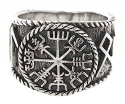 Kiss of Leather Ring Wikingerkompass Vegvisir aus 925 Sterling Silber, Gr. 54-74 (60 (19.1)) von Kiss of Leather