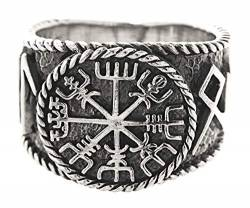 Kiss of Leather Ring Wikingerkompass Vegvisir aus 925 Sterling Silber, Gr. 54-74 (62 (19.7)) von Kiss of Leather