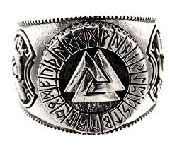 Kiss of Leather Ring Wotansknoten Valknut aus 925 Sterling Silber, Gr. 52-74 (54 (17.2)) von Kiss of Leather