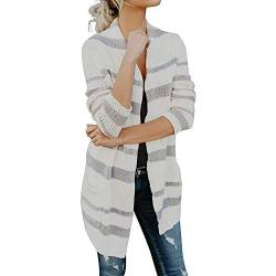 Strickjacke Kolylong Damen Elegant Streifen Lang Strickjacke mit Tasche Herbst Winter Warm Strickmantel Offene Outwear Loose Cardigan Mantel Sweaters Pullover Langarmshirt Tops (XL, Weiß) von Koly-Damen Strickjacke