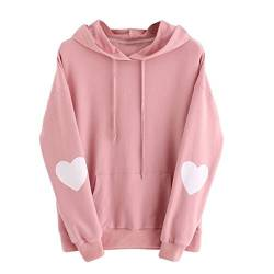 Sweatshirt Damen Kolylong® Frauen Elegant Drucken Sweatshirt mit Kapuze Herbst Winter Warm Hooded Pullover Locker Langarm Bluse Jumper Mantel Outwear T-Shirt Tops Oberteile (S, Rosa) von Kolylong®