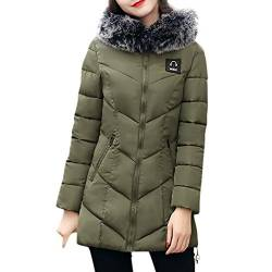 Wintermantel Damen Kolylong® Frauen Herbst Winter Warm Mantel mit Pelzkragen Verdickte Daunenmantel Lang Locker Parka Outwear Mode Strickjacke Steppmantel Windbreaker Overcoat (M, Armeegrün) von Kolylong®