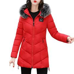 Wintermantel Damen Kolylong® Frauen Herbst Winter Warm Mantel mit Pelzkragen Verdickte Daunenmantel Lang Locker Parka Outwear Mode Strickjacke Steppmantel Windbreaker Overcoat (XXL, Rot) von Kolylong®