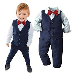 Baby Junge Taufe Kleidung,TTLOVE Kleinkind Boys Gentleman Fliege Krawatte Hemd T-Shirt Tops Hosentr/äGer Hosen Outfits Bekleidung Set,Kinderkleidung Herbst Hochzeit Festlich Anzug