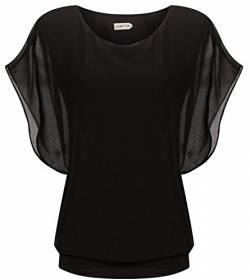 LILBETTER Damen Sommer Casual Loose Fit Kurzarm Batwing T-Shirt Chiffon Top Bluse(schwarz L) von LILBETTER