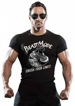 Original LOBO NEGRO® T-Shirt für den Hardcore Bodybuilider: Beast Mode Crush Your Limit!-XL von LOBO NEGRO