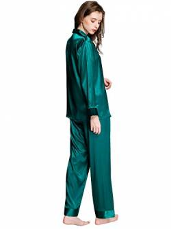 Damen Satin Pyjama Set Green Large von LONXU