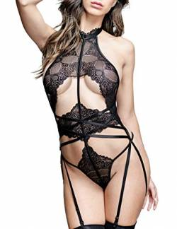Women Sexy Lace Lingerie with Garter Belt One Piece Teddy Bodysuit Lace High Neck Backless Corset Bodysuit Lingerie Black S von LOVE YOU SEXY