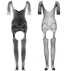 LOVELYBOBO 2-Pack Bodystockings Netz Damen Dessous Body Einheitsgröße Unterwäschen Reizwäsche Bodystockings (schwarz+Weiß) von LOVELYBOBO