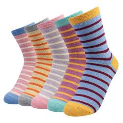 La Dearchuu Damen Wollsocken Winter Warme Socken, Atmungsaktive Weiche Stripe Socken Einheitsgröße 35-40 (Breiter Streifen) von La Dearchuu
