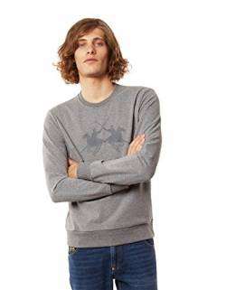 La Martina Herren Domingo Pullover, Grau (Medium Heather Grey 01002), Large von La Martina