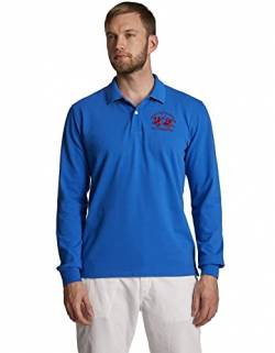 La Martina Herren Man Polo L/S Piquet Stretch Poloshirt, Blau (Blue Scotland 7015), Large (Herstellergröße: L) von La Martina