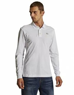 La Martina Herren Man Polo L/s Piquet Stretch Poloshirt, Weiß (Optic White 00001), X-Large von La Martina