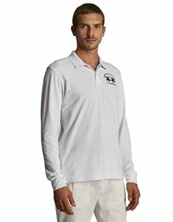 La Martina Herren Man Polo L/s Piquet Stretch Poloshirt, Weiß (Optic White 00001), XXX-Large von La Martina