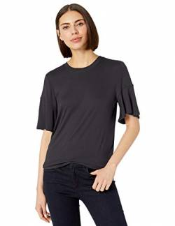 Lark & Ro 1-by1 Rayon Span Flutter Sleeve Top dress-shirts, Atlantic Navy, M von Lark & Ro