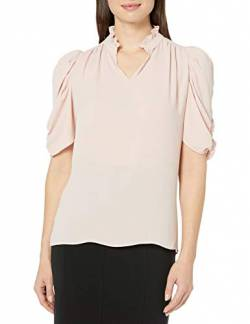 Lark & Ro Half Sleeve Ruffle Neck Woven Blouse Dress-Shirts, Blush, US S (EU S - M) von Lark & Ro