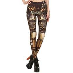 Lazzboy's Frauen Steampunk Retro Leggings Comic Cosplay Print Gothic Stretchy Skinny Pants(Braun B,XL) von Lazzboy