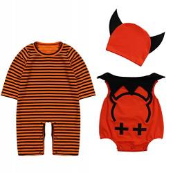 Le SSara Baby Devil & Vampire Halloween Bodys Newborn Body Kostüm Outfits 3pcs (90, A-Orange) von Le SSara