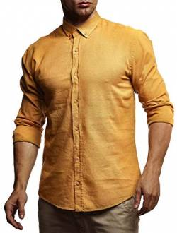 Leif Nelson Herren Leinenhemd Hemd Leinen Kurzarm T-Shirt Oversize Stehkragen Männer Freizeithemd Sommerhemd Regular Fit Basic Shirt Kurzarmshirt Freizeit Sweater LN3875 Mustard Small von Leif Nelson