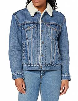 Levi's Damen Ex-BF Sherpa Trucker Jeansjacke, Blau (Addicted to Love 0005), Large von Levi's