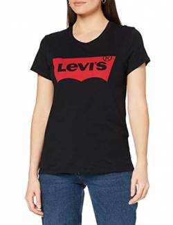 Levi's Damen T-Shirt, The Perfect Tee, Schwarz (Large Batwing Black 201),  Gr. L von Levi's