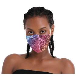 Lialbert Glitzer Mundschutz Multifunktionstuch 3D Glänzend Mund-Nasenschutz Winddicht Atmungsaktiv Face Shield,Mode Party Pailletten Halstuch Bandana Maske von Lialbert