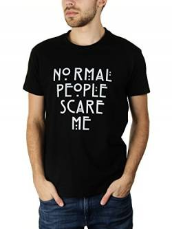 Normal People Scare Me - Herren T-Shirt von KaterLikoli, Gr. L, Deep Black von Likoli