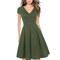 Women's Criss-Cross Necklines V-Neck Cap Sleeve Floral Casual Work Stretch Swing Summer Dress Party Dress Army Green(S) von Lincman
