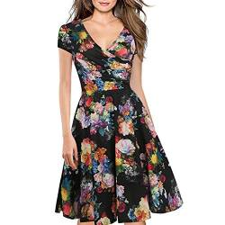 Women's Criss-Cross Necklines V-Neck Cap Sleeve Floral Casual Work Stretch Swing Summer Dress Party Dress Black(XL) von Lincman