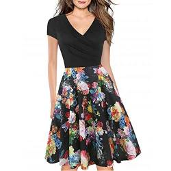 Women's Criss-Cross Necklines V-Neck Cap Sleeve Floral Casual Work Stretch Swing Summer Dress Party Dress Black Rose(XL) von Lincman