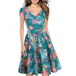 Women's Criss-Cross Necklines V-Neck Cap Sleeve Floral Casual Work Stretch Swing Summer Dress Party Dress Blue Floral(L) von Lincman
