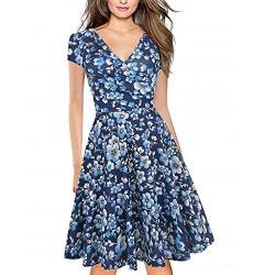Women's Criss-Cross Necklines V-Neck Cap Sleeve Floral Casual Work Stretch Swing Summer Dress Party Dress Blue White(XXL) von Lincman