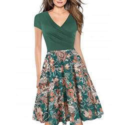 Women's Criss-Cross Necklines V-Neck Cap Sleeve Floral Casual Work Stretch Swing Summer Dress Party Dress Green FP(XXL) von Lincman
